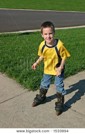 Boy Rollerblading