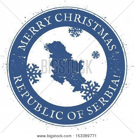 Serbia Map. Vintage Merry Christmas Serbia Stamp. Stylised Rubber Stamp With County Map And Merry Ch