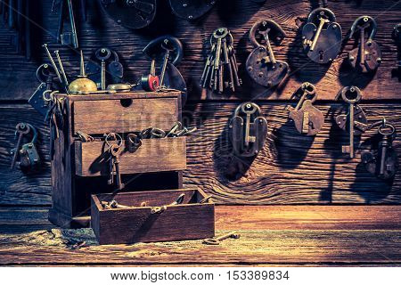 Tools To Repair In Small Locksmiths Workshop