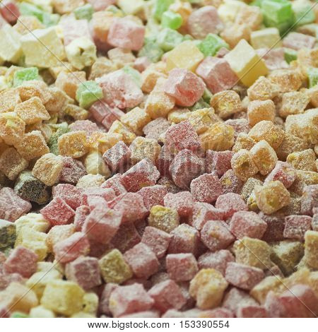 Assortment of Turkish delight on the counter. Traditional cuisines the Middle East. Photo with selective focus