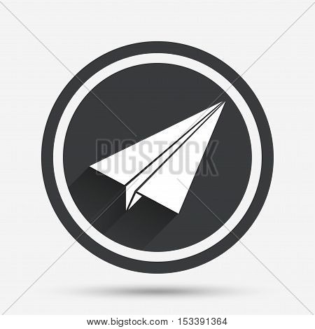Paper Plane sign. Airplane symbol. Travel icon. Flight flat label. Circle flat button with shadow and border. Vector