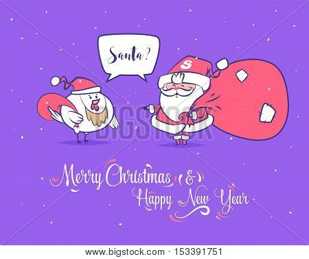Set of Merry christmas and Happy new year illustrations. Santa Claus met rooster. Christmas greeting card background poster.