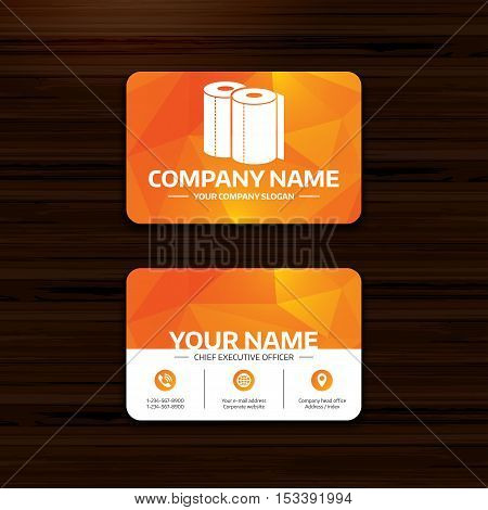 Business or visiting card template. Paper towels sign icon. Kitchen roll symbol. Phone, globe and pointer icons. Vector