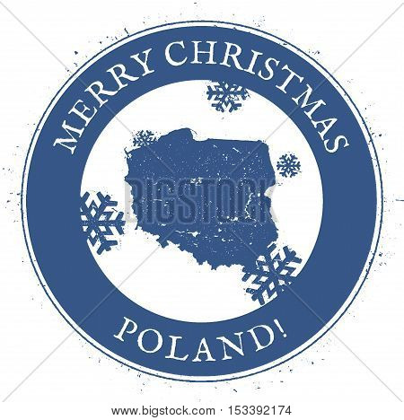 Poland Map. Vintage Merry Christmas Poland Stamp. Stylised Rubber Stamp With County Map And Merry Ch