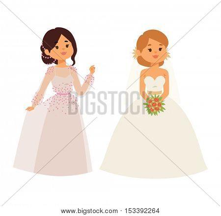 Wedding bride girl character vector