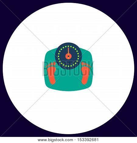 Bathroom scale Simple vector button. Illustration symbol. Color flat icon