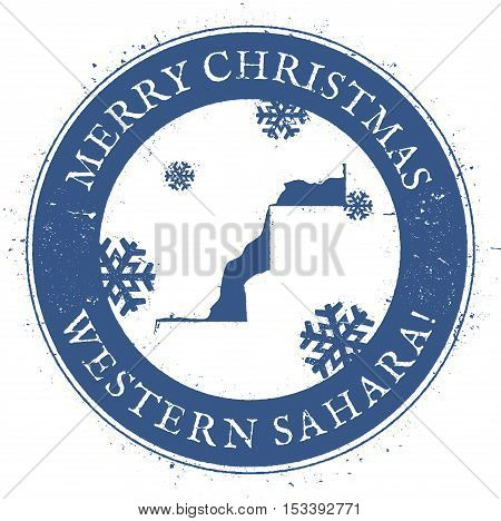 Western Sahara Map. Vintage Merry Christmas Western Sahara Stamp. Stylised Rubber Stamp With County
