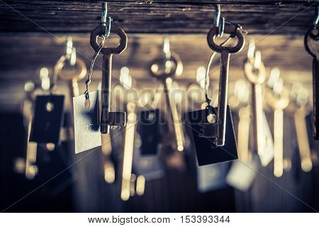 Closeup of aged keys for hotel rooms
