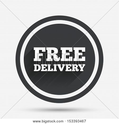 Free delivery sign icon. Delivery button. Circle flat button with shadow and border. Vector