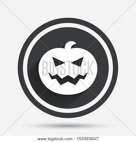 Halloween pumpkin sign icon. Halloween party symbol. Circle flat button with shadow and border. Vector
