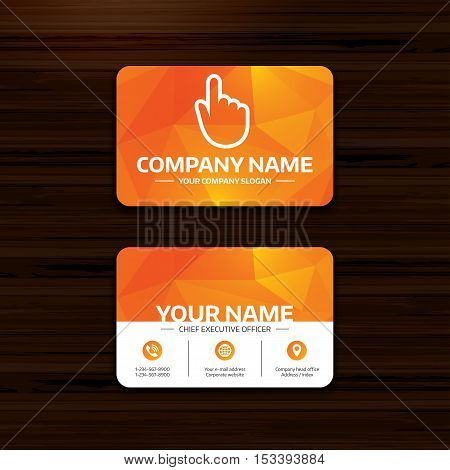 Business or visiting card template. Hand cursor sign icon. Hand pointer symbol. Phone, globe and pointer icons. Vector