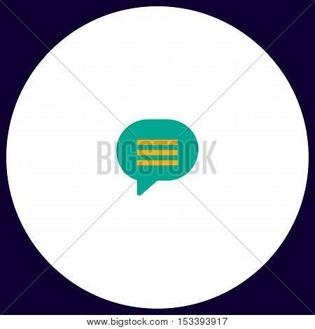 Speech bubble Simple vector button. Illustration symbol. Color flat icon
