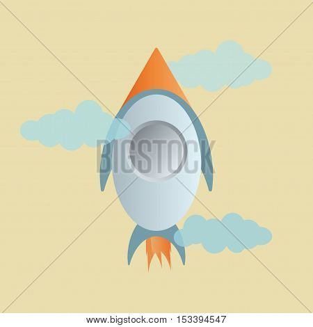Rocket and cloud on yellow sky background