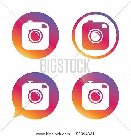 Hipster photo camera sign icon. Retro camera symbol. Gradient buttons with flat icon. Speech bubble sign. Vector