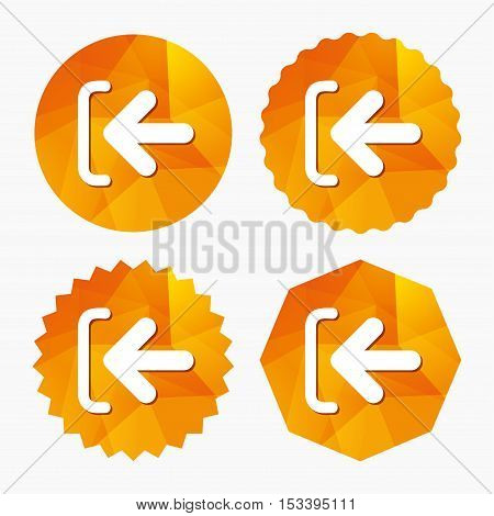 Login sign icon. Sign in symbol. Arrow. Triangular low poly buttons with flat icon. Vector