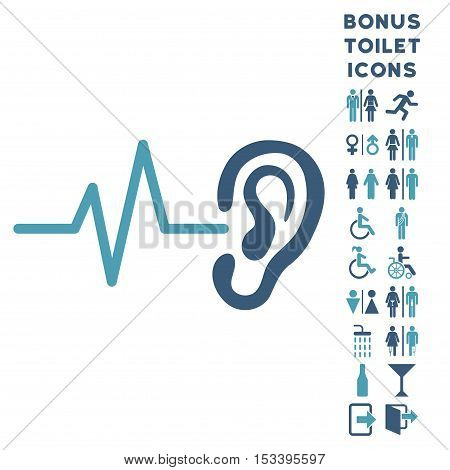 Listen Ear icon and bonus man and female lavatory symbols. Vector illustration style is flat iconic bicolor symbols, cyan and blue colors, white background.