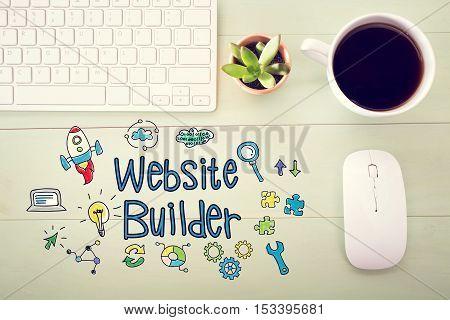 Website Builder Concept With Workstation