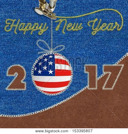 Happy new year design with american flag on Jeans, sewing fabric applique to use for Greetings Card, Flyers, Dinner invitation, Christmas Meeting events and so on.