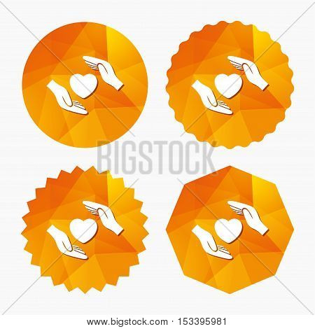Life insurance sign icon. Hands protect cover heart symbol. Health insurance. Triangular low poly buttons with flat icon. Vector