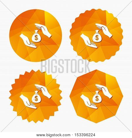 Protection money bag sign icon. Hands protect cash in Dollars symbol. Money or savings insurance. Triangular low poly buttons with flat icon. Vector