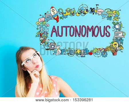 Autonomous concept with young woman in a thoughtful pose