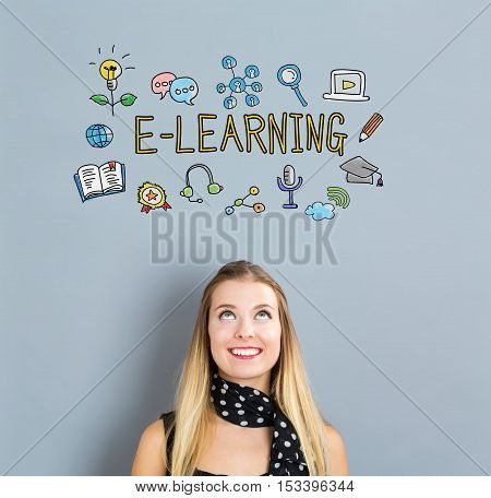 E-learning Concept With Happy Young Woman