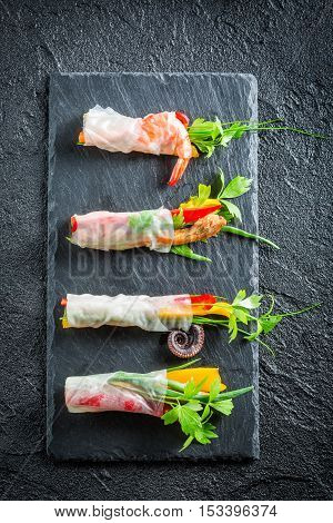 Four Kinds Of Spring Rolls With Seafood