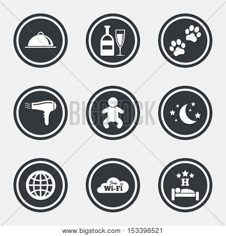 Hotel, apartment service icons. Restaurant sign. Alcohol drinks, wi-fi internet and sleep symbols. Circle flat buttons with icons and border. Vector
