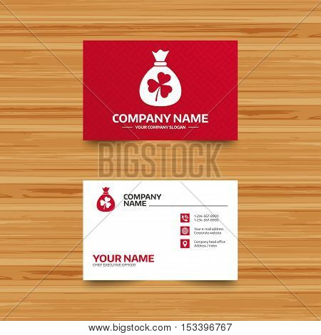 Business card template. Money bag with three leaves clover sign icon. Saint Patrick trefoil shamrock symbol. Phone, globe and pointer icons. Visiting card design. Vector