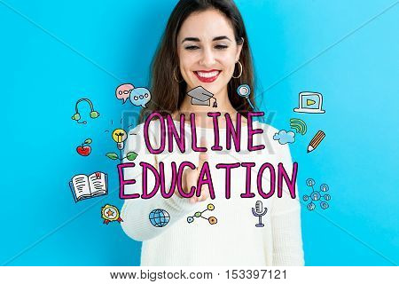 Online Education Concept With Young Woman
