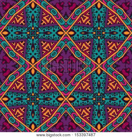Festive Colorful Tribal ethnic seamless vector pattern ornamental. Geometric muticolor print