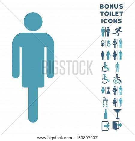 Man icon and bonus man and woman lavatory symbols. Vector illustration style is flat iconic bicolor symbols, cyan and blue colors, white background.