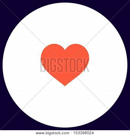 heart Simple vector button. Illustration symbol. Color flat icon