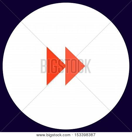 Fast forward Simple vector button. Illustration symbol. Color flat icon