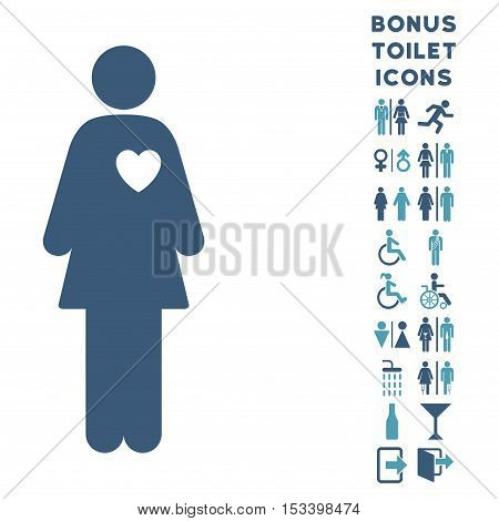 Mistress icon and bonus gentleman and woman lavatory symbols. Vector illustration style is flat iconic bicolor symbols, cyan and blue colors, white background.