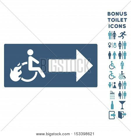 Patient Exit icon and bonus gentleman and woman WC symbols. Vector illustration style is flat iconic bicolor symbols, cyan and blue colors, white background.