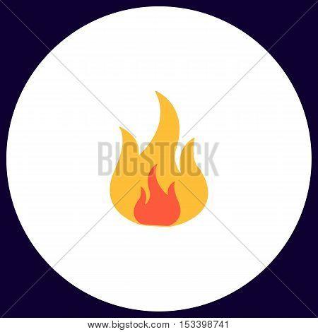 Fire Simple vector button. Illustration symbol. Color flat icon