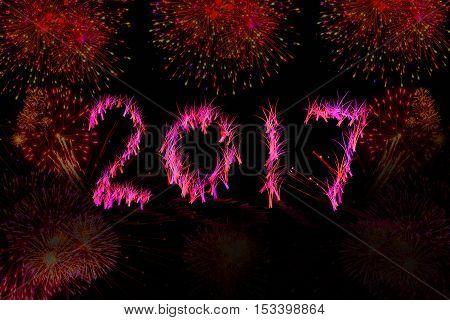 happy new year 2017 , firework ,amazing firework
