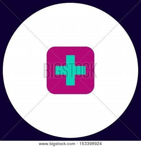 Medicine Simple vector button. Illustration symbol. Color flat icon
