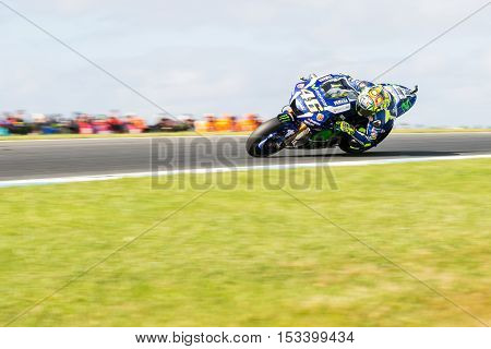 MELBOURNE AUSTRALIA – OCTOBER 23: Valentino Rossi (ITA) riding the #46 Movistar Yamaha MotoGP's Yamaha during the 2016 Michelin Australian Motorcycle Grand Prix at 2106 Michelin Australian Motorcycle Grand Prix Australia on October 23 2016.