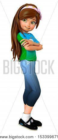 Cute cartoon girl folding arms 3D illustration