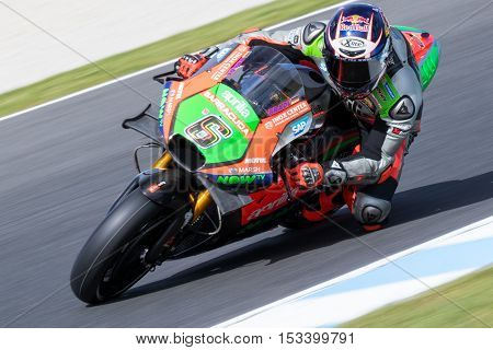 MELBOURNE AUSTRALIA – OCTOBER 23: Stefan Bradl (DUE) riding the #6 Aprilia Racing Team's Aprilia during the 2016 Michelin Australian Motorcycle Grand Prix at 2106 Michelin Australian Motorcycle Grand Prix Australia on October 23 2016.