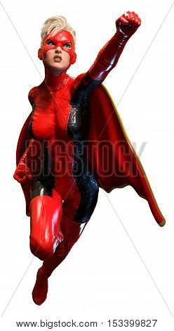 super heroine in red latex 3D illustration