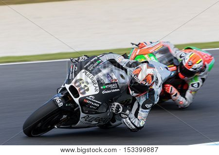 MELBOURNE AUSTRALIA – OCTOBER 23: Yonny Hernandez (COL) riding the #68 Aspar MotoGP Team's Ducati during the 2016 Michelin Australian Motorcycle Grand Prix at 2106 Michelin Australian Motorcycle Grand Prix Australia on October 23 2016.