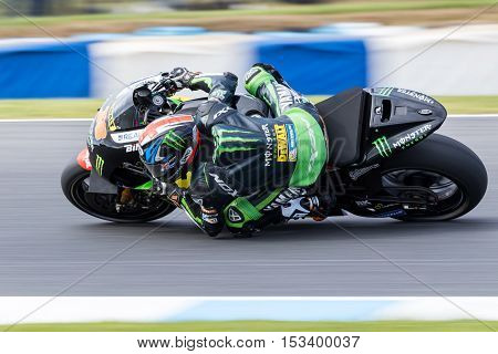 MELBOURNE AUSTRALIA – OCTOBER 23: Bradley Smith (GBR) riding the #38 Monster Yamaha Tech 3's Yamaha during the 2016 Michelin Australian Motorcycle Grand Prix at 2106 Michelin Australian Motorcycle Grand Prix Australia on October 23 2016.