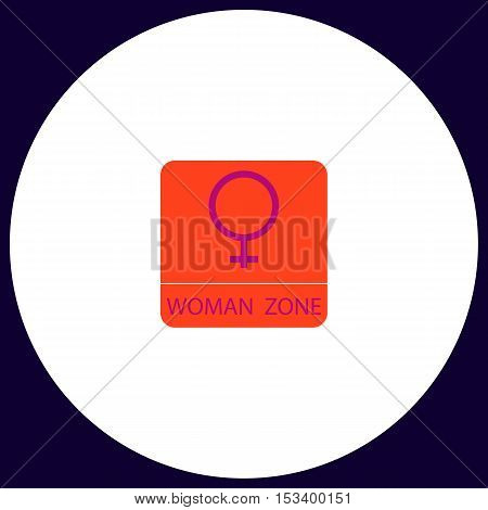 women gender Simple vector button. Illustration symbol. Color flat icon