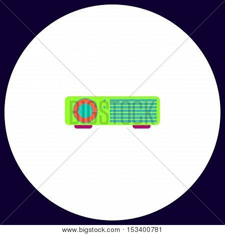 Projector Simple vector button. Illustration symbol. Color flat icon