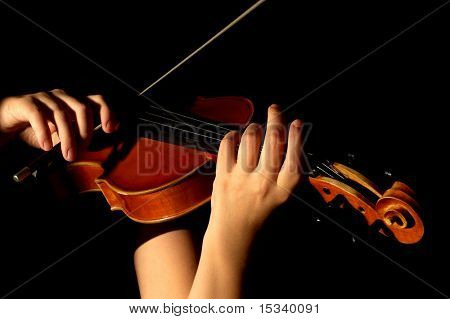 Musician playing violin isolated on black