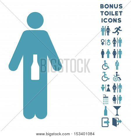 WC Man icon and bonus male and female restroom symbols. Vector illustration style is flat iconic bicolor symbols, cyan and blue colors, white background.