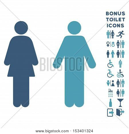 WC Persons icon and bonus man and female restroom symbols. Vector illustration style is flat iconic bicolor symbols, cyan and blue colors, white background.